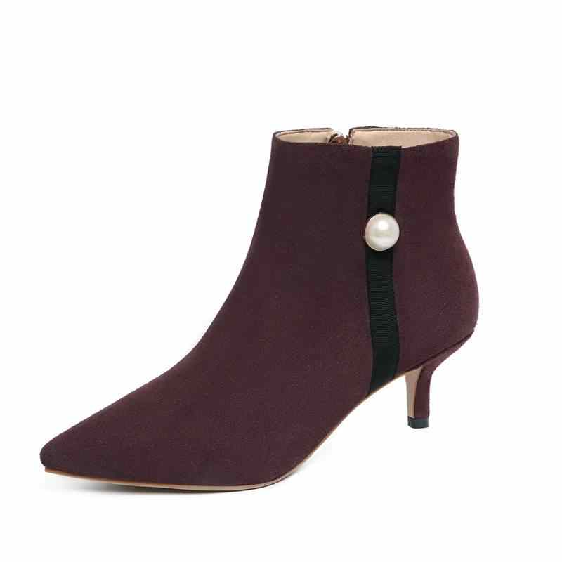 ... ASUMER NEW 2018 fashion pearl zipper ankle boots for women cow suede  leather boots stiletto heels ... 04acf335d34e