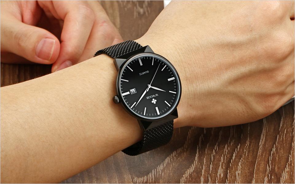WWOOR Brand Luxury Men Waterproof Stainess Steel Casual Gold Watches Men's Quartz Sport Wrist Watch Male Clock relogio masculino 12