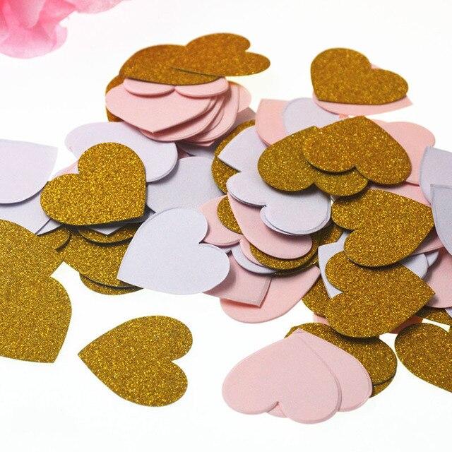 100 piezas de confeti de mesa de corazón de estrella para fiesta de cumpleaños decoración de boda Rosa negro plata oro confeti artesanías de papel
