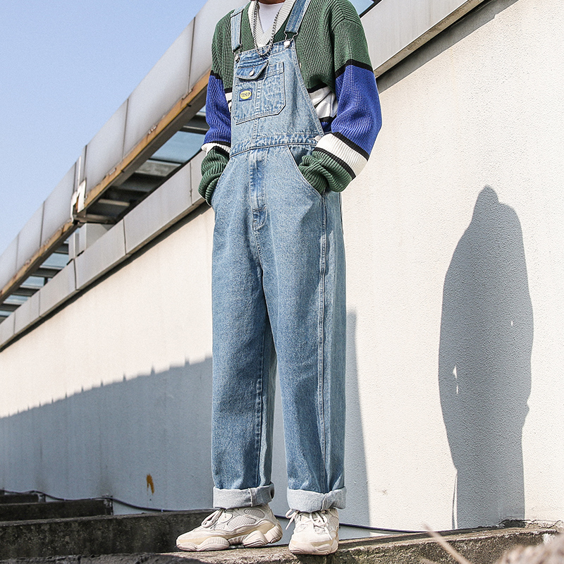 New Men's Cargo Denim Bib Overalls Baggy Loose Jeans Jumpsuits-in Jeans from Men's Clothing    3