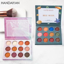 HANDAIYAN New Arival 12 Color Eyeshadow Palette Marble Flame Mousse Maple Leaf Red Pearlescent Matte Eye Shadow Women Cosmetic