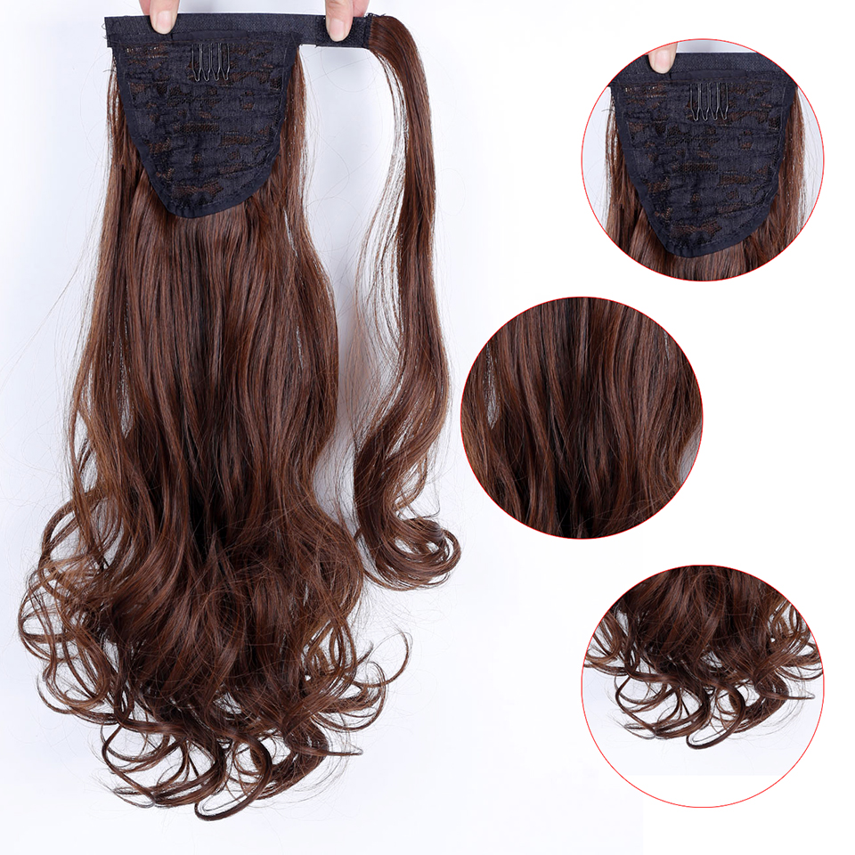 "WTB 22"" Long Wavy Wrap Around Clip In Ponytail Hair Extension Heat Resistant Synthetic Natural Wave Pony Tail Fake Hair 4"