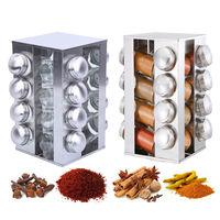 16 Jars Rotating Spice Rack Set Stainless Steel Seasoning Stand Holder Condiment Salt Pepper Carousel Spice Jars Shaker Kitchen