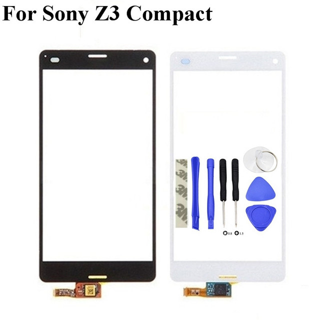 High Quality For Sony Xperia Z3 Compact Z3 mini D5803 D5833 Touch Screen Digitizer Sensor Front Glass Lens+tools