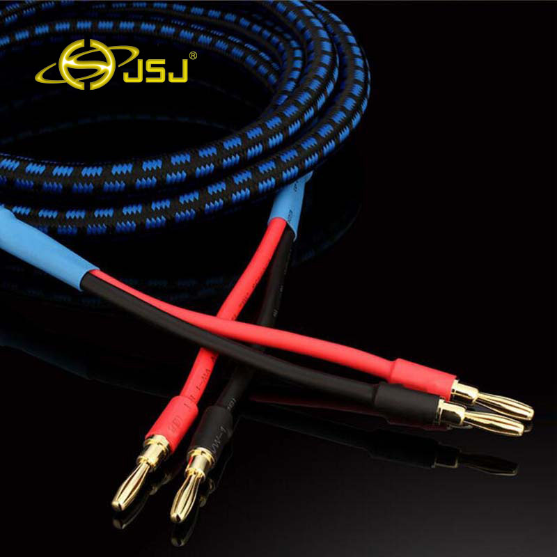 JSJ Audio Cable 1m-5 meter Banana Cable Golden Plated Audiophile Hi-end Banana Bold Line Speaker Audio Cable L11