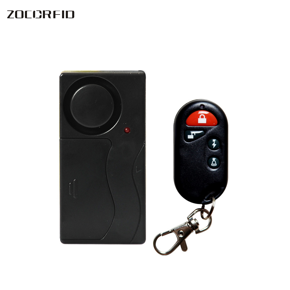 Home Security Wireless Remote Control 105decibels Vibration Motorcycle- Bike/ Door -Window Detector Burglar Alarm wireless remote control vibration security alarm independly door window detector black