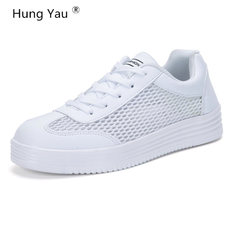 Hung Yau Women Shoes Summer Style Breathable Mesh Lightweight Women Flats Fashion Casual Female White Shoes Loafers Plus Size 9 2017 new summer zapato women breathable mesh zapatillas shoes for women network soft casual shoes wild flats casual shoes