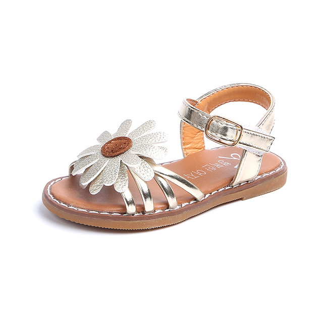 Summer Fashion Flower Girls Sandals shoes Size 21-36 Flat With Baby Girls  Casuals Sandals shoes for baby slides girls shoes f5e1a6d2f24b