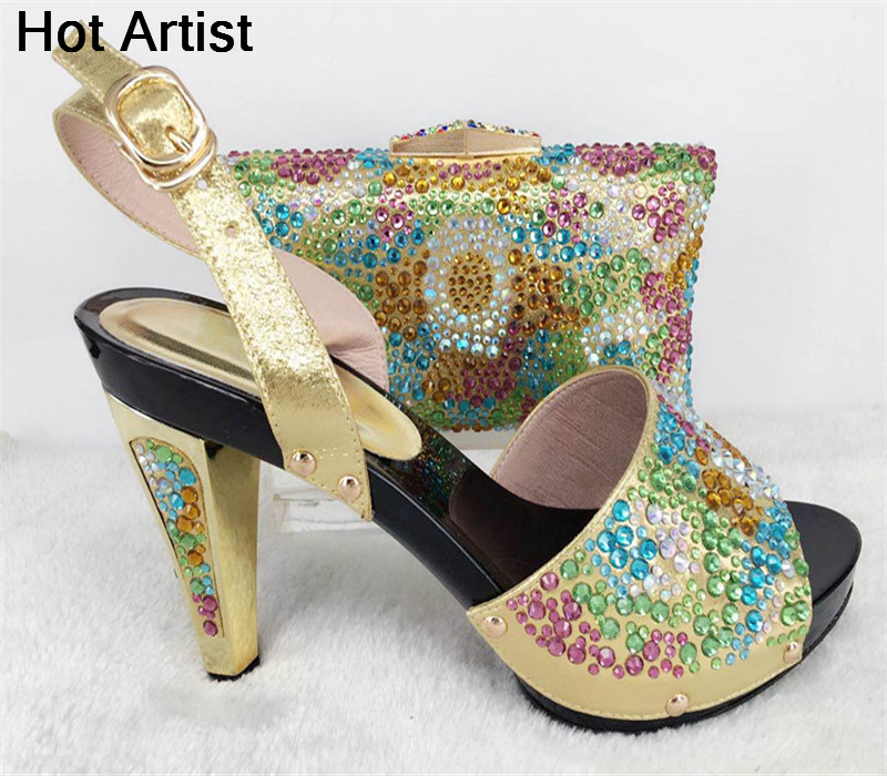 Hot Artist African Style Rhinestone Woman Shoes And Bag Set Summer Elegant High Heels Shoes And Bags Set For Party TYS17-18 high quality african shoes and matching bag set summer style woman high heels shoes and bag set for party size 38 43 mm1030