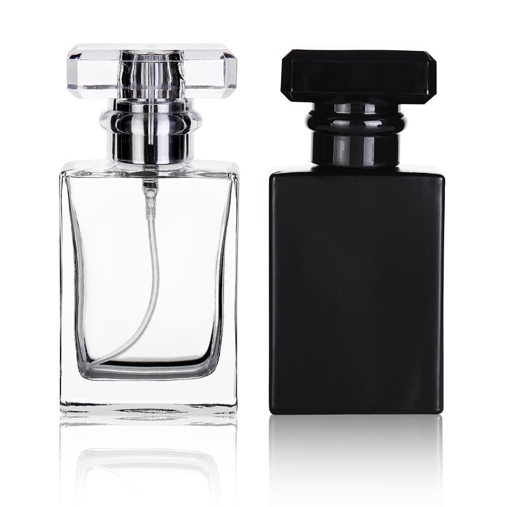 1Pcs Retail 30ml square perfume spray glass bottle reusable black and transparent