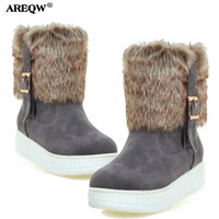 AREQW Winter Shoes Women Thick Bottom Waterproof Table Belt Buckle Short Boots Rabbit Hair Snow Boots