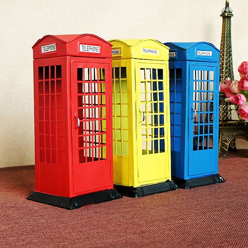 London Telephone Booth Money Box Creative Piggy Bank Iron Craft Gifts Home Decoration Articles Currency Save Coin adjustable mandoline slicer professional grater