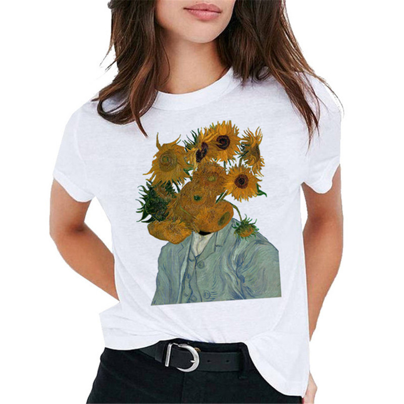 Van Gogh Oil Art Women T Shirt Print T-shirt Casual New Streetwear Tshirt Graphic Tee Shirts Harajuku Female Clothing 2019