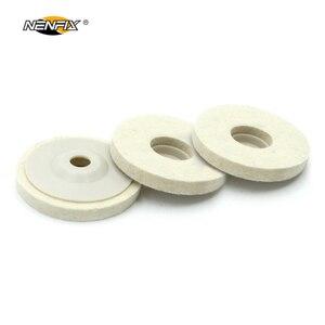Image 4 - 1/3/5 adet 4 yünü keçe tekerlek disk pedi açısı öğütücü parlatıcı balmumu Metal keçe parlatıcı disk pedi döner aracı aşındırıcı taşlama