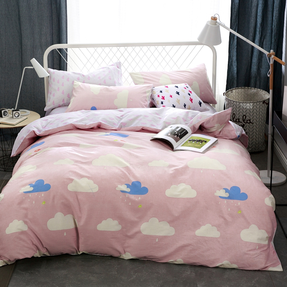 bedding for adults promotionshop for promotional bedding for  -  cotton pink cloud duvet cover set queen bedding set for adultssweetduvet cover bed sheets pillow casesoft bed linens