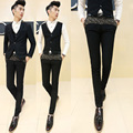 New 2016 Spring Summer Masculina Social Blue Skinny Men Suit Pants Luxury Royal Gold Embroidered Mens Black Dress Pants Trousers