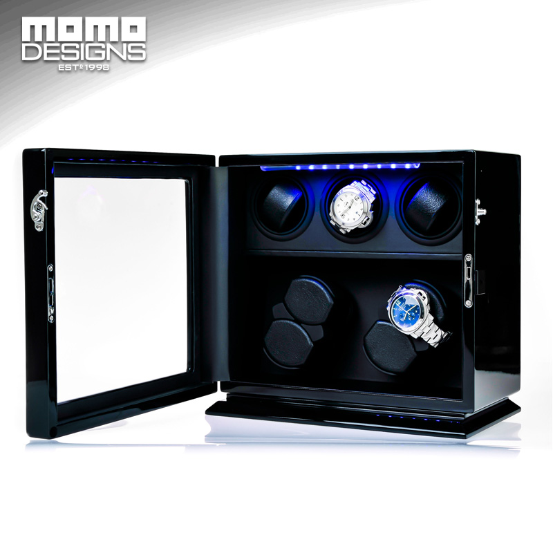 Wooden Watch Winder 7 Automatic watch chain winder LED light watch storage box JAPAN mabuchi motor