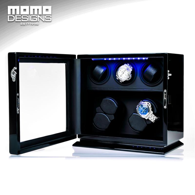 Wooden Watch Winder 7 Automatic watch chain winder LED light watch storage box JAPAN mabuchi motor