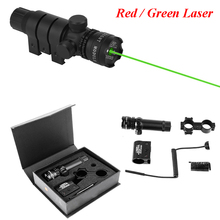 Hunting Optics Sight Red / Green Laser Sight Military Equipment 5mw Tactical Laser Riflescope With 20mm Mount & Tail Switch tactical 5mw red laser sight rifle scope riflescope designator 20mm mount tail switch for hunting