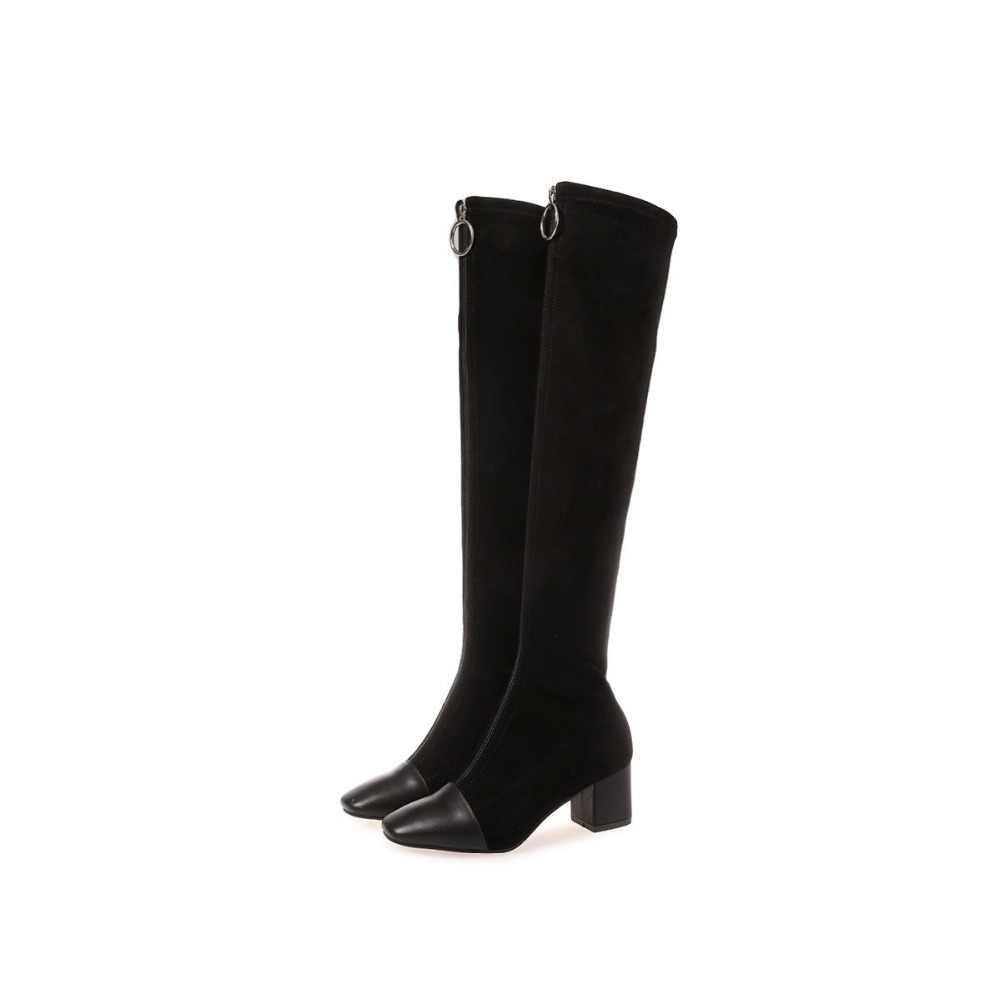 Krazing Topf 2019 echtem leder karree stretch über-die-knie stiefel dicke heels superstar zipper schönheit oberschenkel hohe stiefel L08