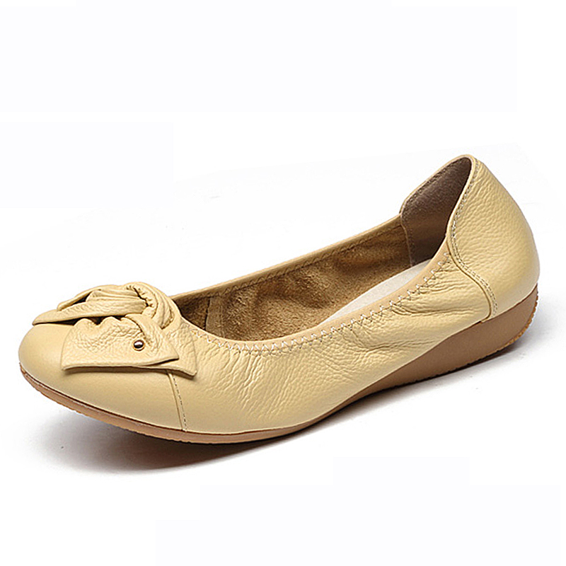 Plus Size 34-43 Spring\Autumn Genuine Leather Shoes Woman Flats Work Classi Fashion Bowknot Female Casual Ballet Ladies Shoes size 34 43 blue ladies autumn shoes round toe heel woman flat shoes t strap genuine leather women ballet flats