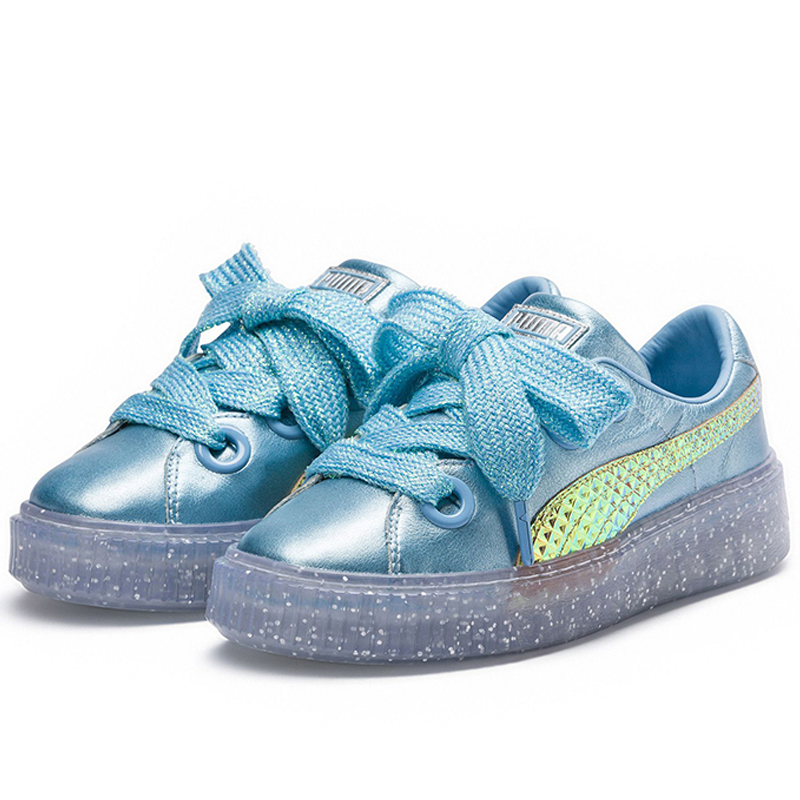 2018 New Arrival PUMA Platfom Glitter Princess SW Womens candy color Bule Canvas shoes Badminton shoes Size 35.5-39