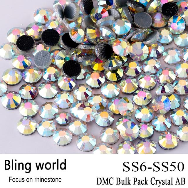 El CraftsOutlet Vidrio de Calidad Superior Crystal AB DMC Hotfix Tamaño SS6 SS10 SS16 SS20 SS30 Rhinestone Embellecimiento