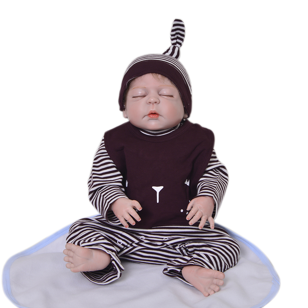 Handmade 23 inch Asleep Reborn Baby Dolls Newborn So Truly 57 cm Full Body Silicone Vinyl Babies Doll For Boy Gifts Palymates
