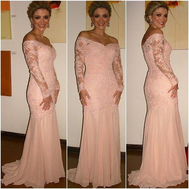 16097 New Arrival V Neck Long Sleeve Lace Coral Prom Dresses Vestidos De Fiesta Sexy Mermaid Evening Party Gowns 2014 En Vestidos De Baile De
