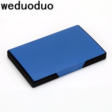 Weduoduo New Women And Men Business ID Name aluminium metal credit card Holder Fashion card holder cover birthday gift card case vintage brand new leather business credit card name id card holder case slim wallet box for women and men gift 1pcs