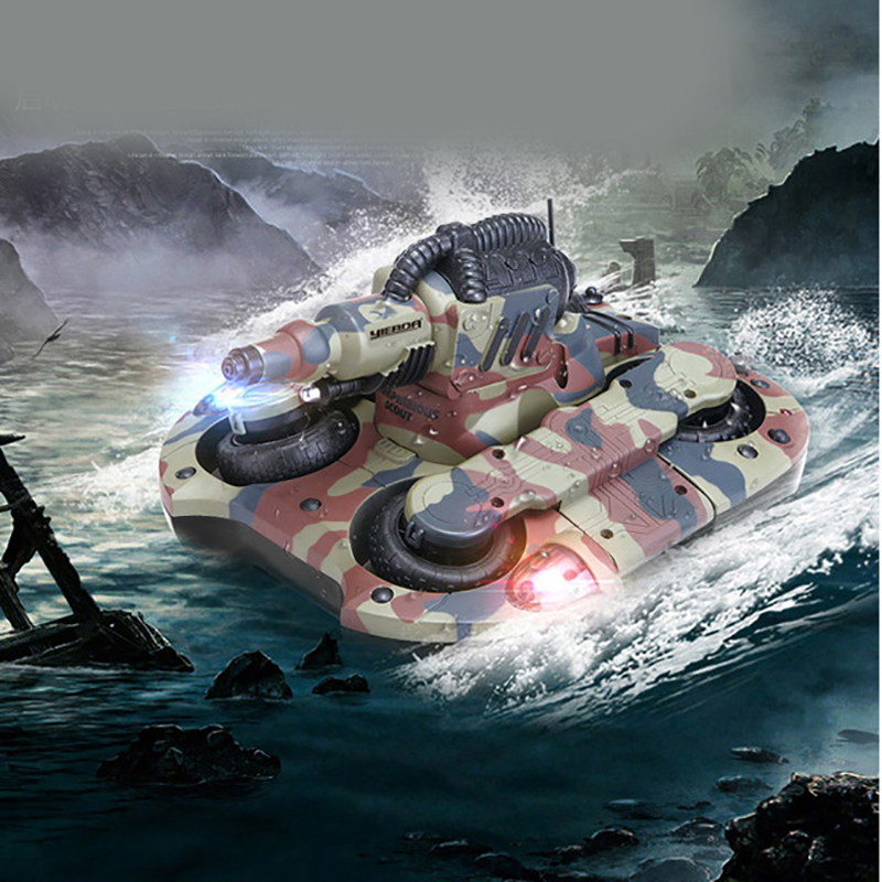 Rc barco tanque anfibio Radio Control juguetes para niños 10 años Rc barco robot Control remoto tanque de plástico la nave de la gota - 5