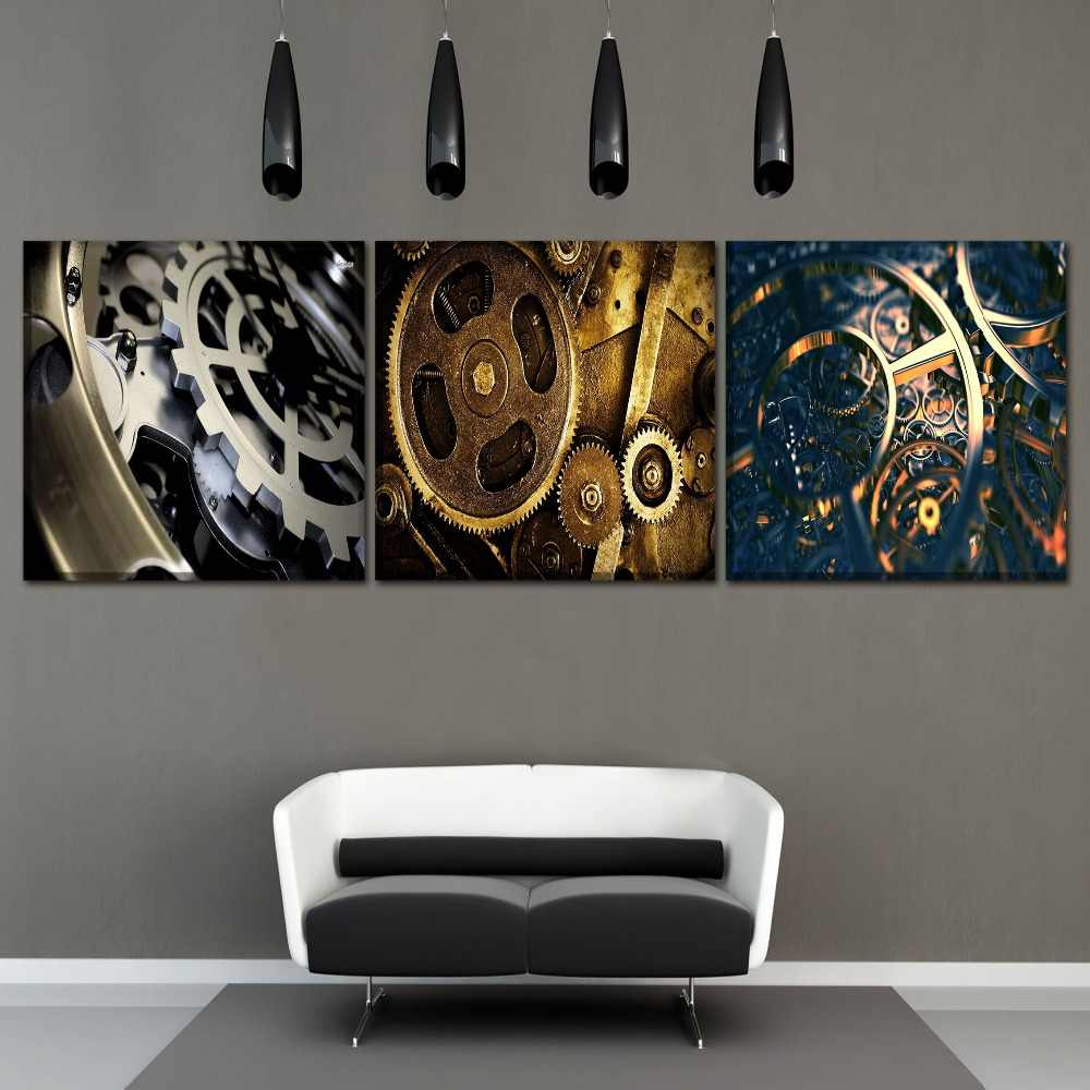 Modern Home Decor Modular Pictures Wall Art Posters Framework Canvas HD Printed 3 Piece/1Pcs Sci Fi Steampunk Gear Painting