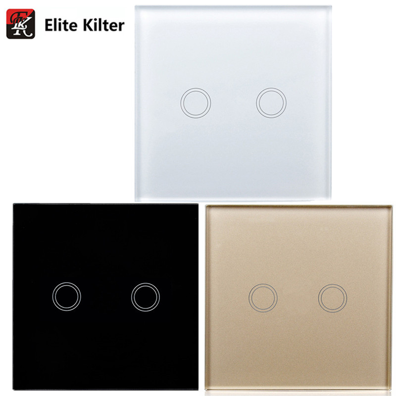 Intelligent Waterproof Wall Switch Touch Switch The LED Indicator White Glass Panel AC 170 250V EU
