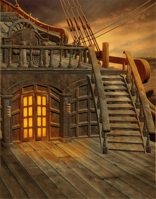 Kids Stage Photography Backdrop Pirate Ship Stairs Sunset Scenery Wooden  Window Floor Vintage Children Photo Studio