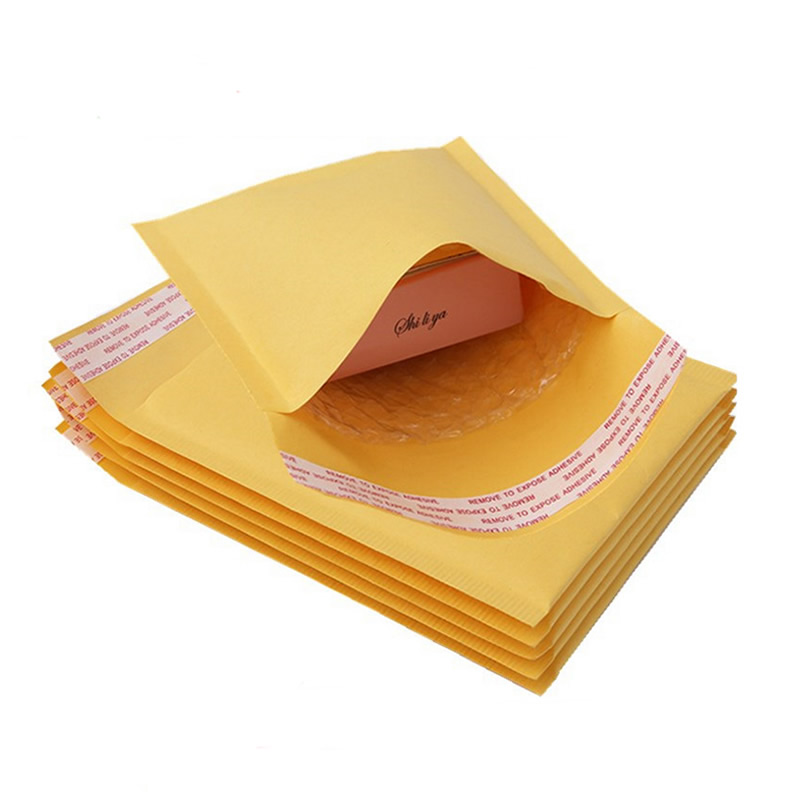 5 PCS/lot Kraft Paper Bubble Envelopes Bags Mailers Padded Shipping Envelope With Bubble Mailing Bag Business Supplies e mailing cd