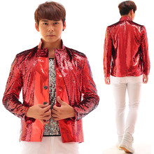 Male PU leather Sequins jacket novelty blazer coat costume outfit singer dancer stage nightclub bra prom slim performance show