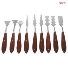 9 pièces/ensemble professionnel en acier inoxydable artiste peinture à lhuile Palette couteau spatule peinture Palette Art ensemble peinture fournitures Art ensembles