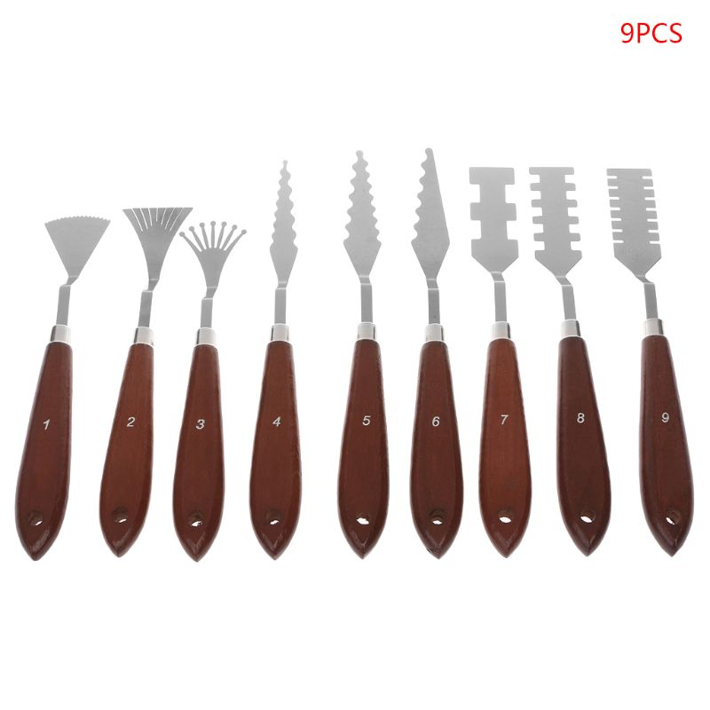 9pcs/set Professional Stainless Steel Artist Oil Painting Palette Knife Spatula Paint Pallet Art Set Painting Supplies Art Sets