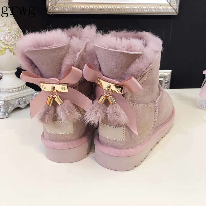 grwg Real Fur 2018 Women Snow Boots Real Wool Winter Warm Boots Genuine Sheepskin Leather Natural Fur Non Slip Women Boots