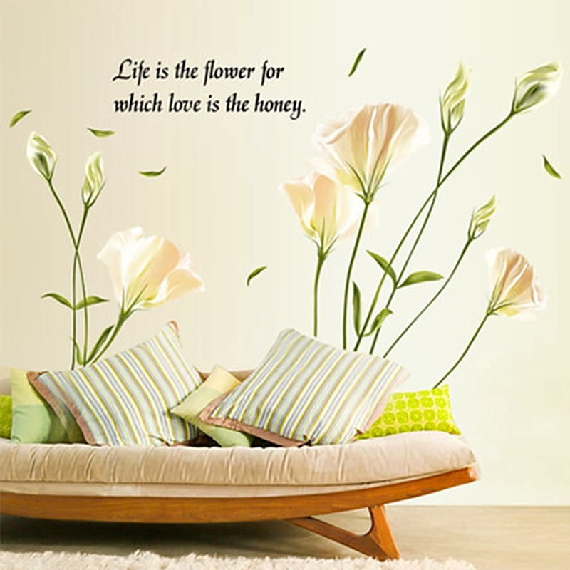 romantic lily flower floral life love 60*90cm wall stickers home