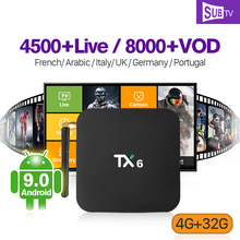 цены на Android 9.0 IPTV France Arabic Box TX6 4+32G BT5.0 Dual-Band WIFI IP TV 1 Year SUBTV Subscription 4K Arabic France IPTV Receiver  в интернет-магазинах