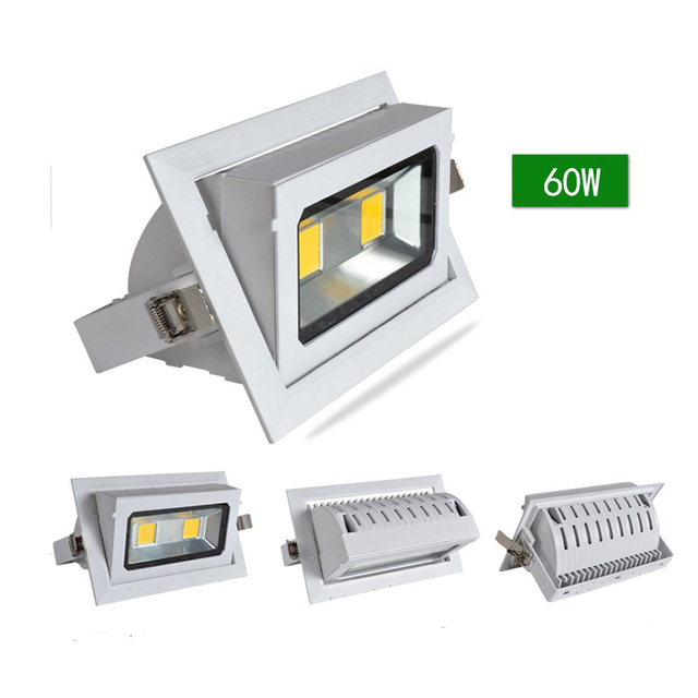 Led downlights 40w recessed cob flood light rectangle die cast led downlights 40w recessed cob flood light rectangle die cast aluminum white shell ac90v aloadofball Images
