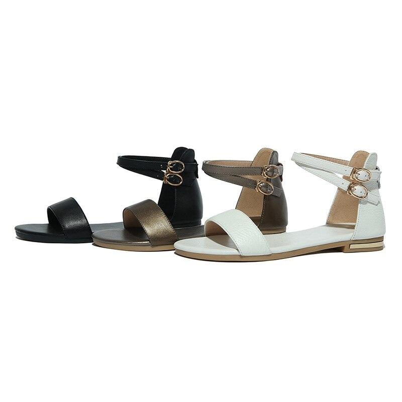 fibbia 2018 bianco signora semplici vera bassi solidi arrivi champagne college donne estate color in nero stile tacchi scarpe nuovi sandali colori Asumer pelle pxqd0wRq