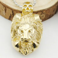 60CM Chains Head Of Lion Pendant Necklace Men Metal Punk Style 2015 New Stainless Steel Animal