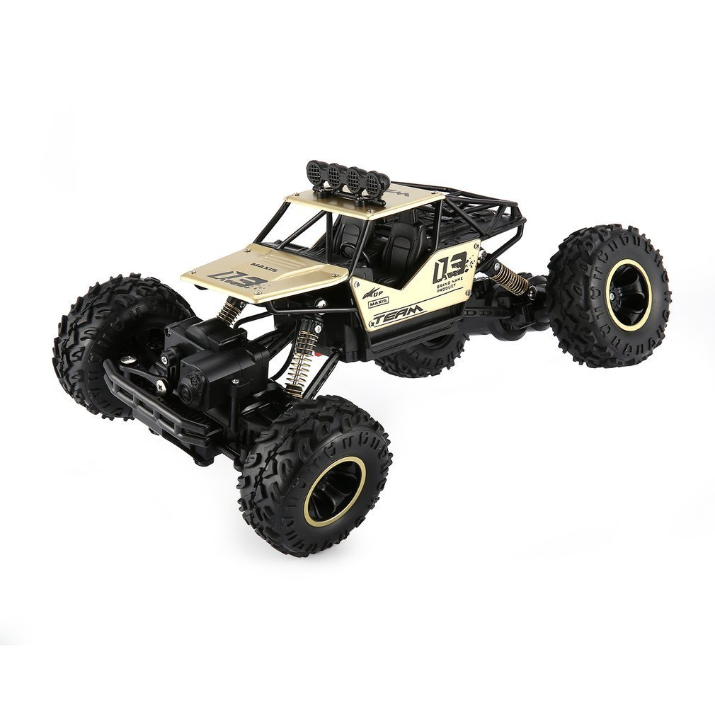 RC 1/16 2.4GHz 4WD Alloy Body Shell Rock Crawler Double Motors Off-road Remote Control RC Buggy Bigfoot Climbing Car Vehicle Toy