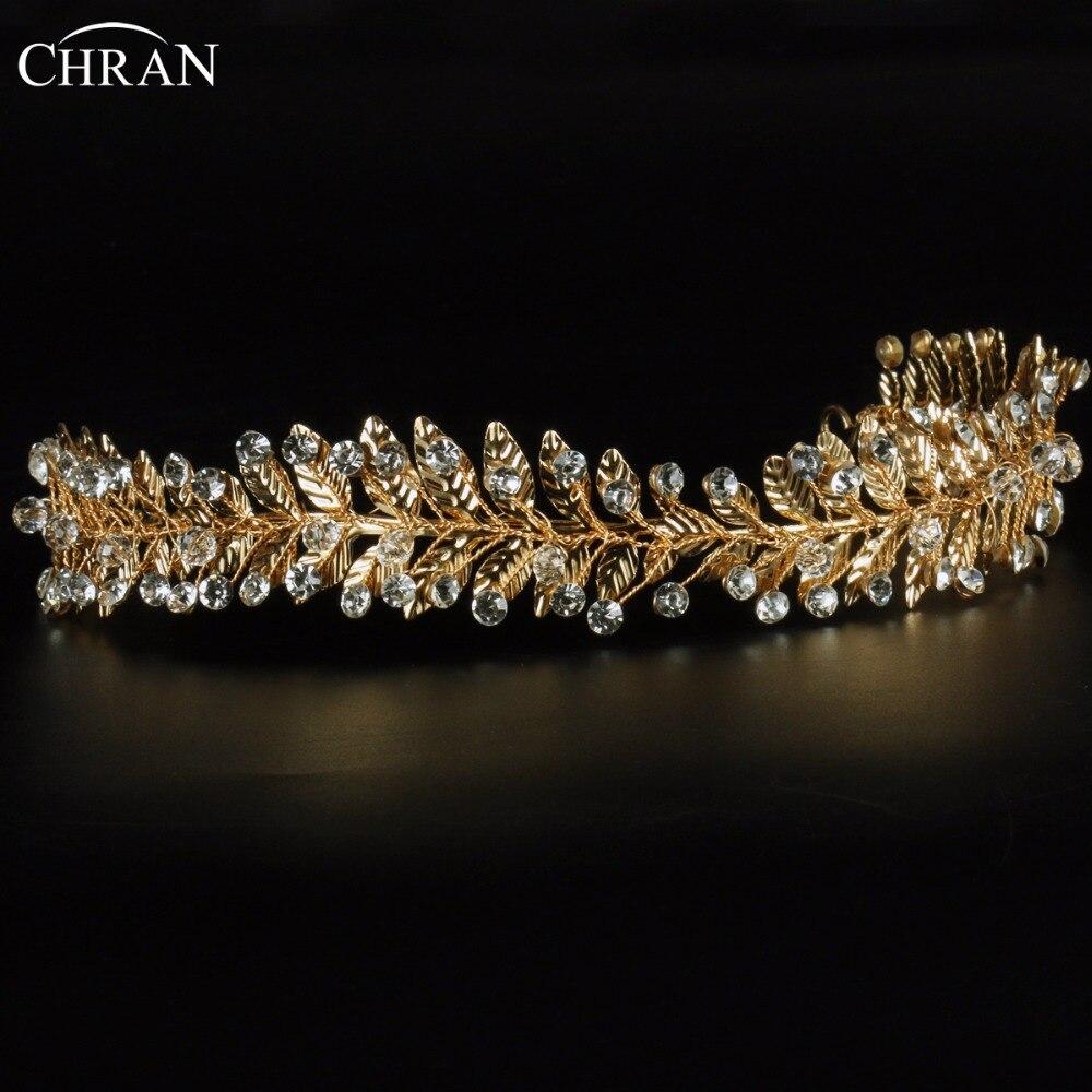 Bridal jewelry tiara - Chran Handmade Gold Plated Leaf Wedding Tiara Crow