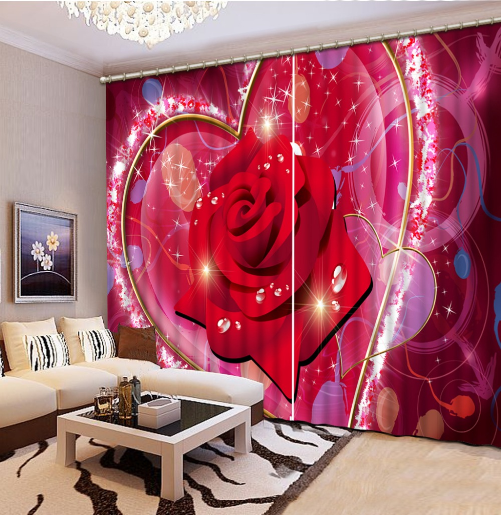 Living room curtains red - Home Decoration Living Room Natural Art Red Roses Bedding Room 3d Curtains Home Decoration China