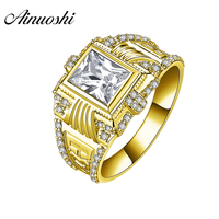 AINUOSHI Luxury 14K Solid Yellow Gold Male Ring Wide Wedding Band 1.5CT Rectangle Cut SONA Diamond Ring Men's Wedding Jewelry