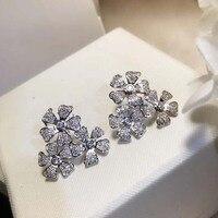 Brand Pure 925 Sterling Silver Jewelry For Women Big Flower Earrings Cubic Zirconia 3 Clover Stud Earring Party Silver Jewelry
