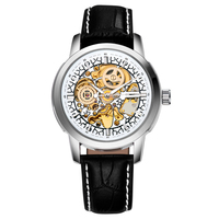 OUYAWEI Relogio Masculino Leather Belt Mechanical Men S Watch Carving Skeleton Steampunk Dial Male Clock Automatic